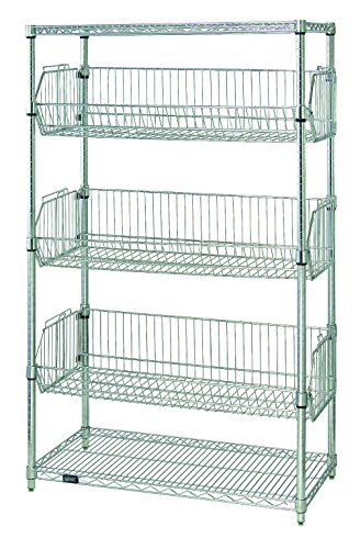 """B002FVAH4Q Quantum Storage Systems 1836BC6C 5-Tier Stationary Wire Basket Unit with 3 Baskets, Chrome Finish, 18"""" Width x 36"""" Length x 63"""" Height 51g250tk2BHL"""