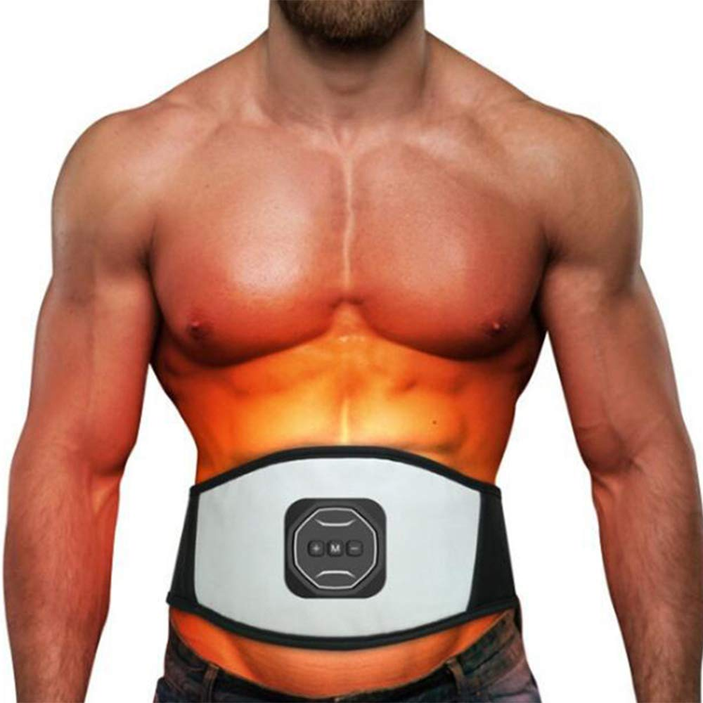 Zinnor Abs Slimming Belt Electronic Waist Trainer Electronic Abdominal Belt Muscle Toning Waist Trainer with 4 Gel Pads for Men and Women