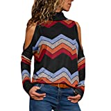 Womens T-Shirt, Lightweight Block Color Cold Shoulder Top, Fashion Long Sleeve for Ladies Black