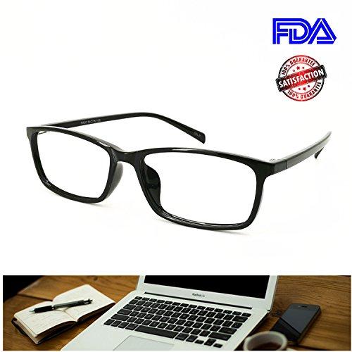 (Computer Reading Glasses Blue Light Blocking Reader Gaming Screen Digital Eyeglasses Anti Glare Eye Strain Transparent Lens UV Light Weight for Women Men (Gloss Black,)