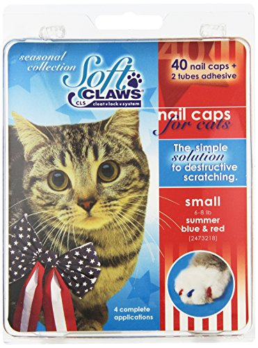 Soft Claws for Cats, Size Small, Color Summer (Blue & Red)
