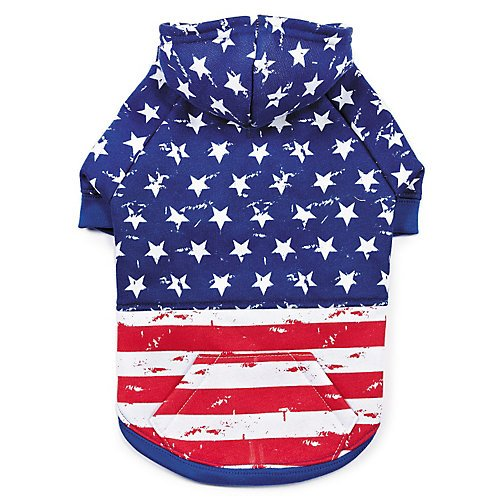 Zack & Zoey Distressed American Flag Hoodie for Dogs, Large