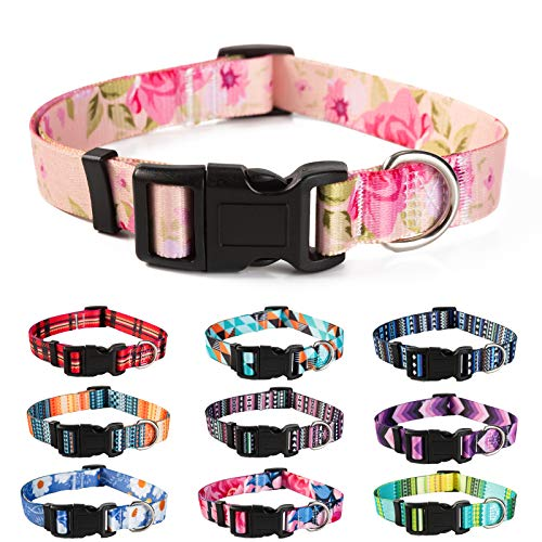 Female Girl Dog Collars Floral for Medium Small Large Dogs, Spring Collar Geometric Pattern, Bohemain Nylon Adjustable for Puppy Pet with Safety Buckle Comfort Polyester Outdoor Walking Running
