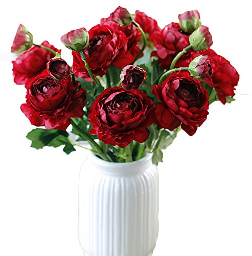 AliceHouse 20 Heads Artificial Peony Silk Flower Bouquet Home Office Wedding Party Decor DIY AF010 Dark Red