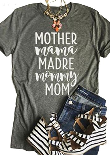 Mom T-shirt (Womens Mother Mama Madre Mommy Mom Letter Print Short Sleeve Round Neck T-Shirt Size US L/Tag XL (Gray))