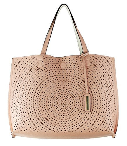 Street Level (Street Level Perforated Reversible Tote Bag with Matching Wristlet in Ivory / Blush)