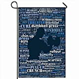 Ahawoso Outdoor Garden Flag 12x18 Inches Circuit Calorie Aerobic Exercise Text Collage Warm Anabolic Bicep Bodybuilder Cardio Motivation Seasonal Double Sides Home Decorative House Yard Sign