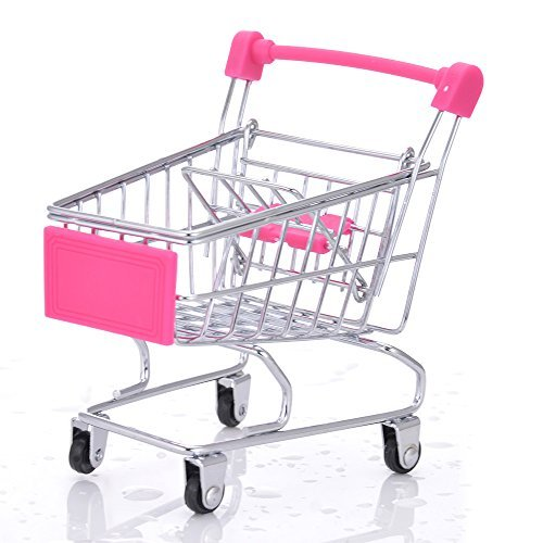 Mini Toy Shopping Carts Small Pet Toy Animal Toy Hamster Toy Supermarket Handcart Shopping Utility Cart Mode Storage Toy With Metal Frame Candy Color
