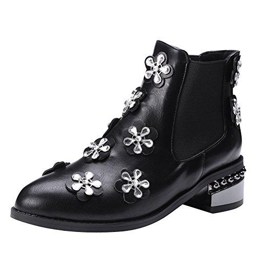Latasa Womens Floral Rhinestones Chunky Chelsea Boots Black aB34U