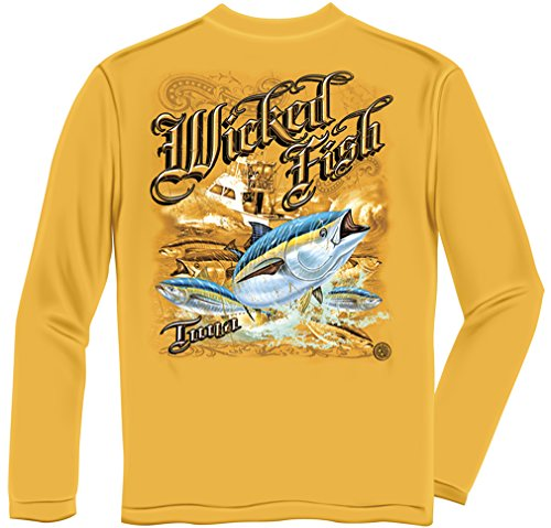 Tuna Yellowtail Bluefin Fishing 100% Cotton Casual Men's Long Sleeved Shirts, Show Your Love of Fishing with Our Unisex Tuna Yellowtail Bluefin Long Sleeve T-Shirts for Men or Women (Medium)