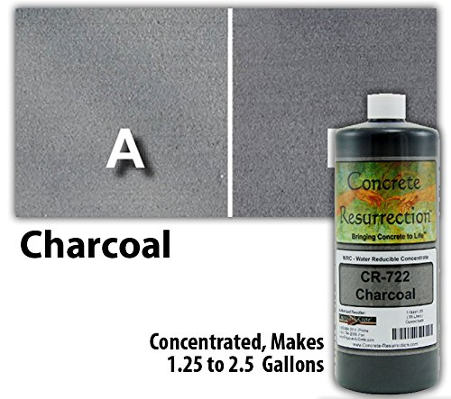 Concrete Stain Concentrate Just Add Water, User & Eco-Friendly Semi-Transparent Professional Grade Cement Stain, Concrete Resurrection Brand (32 ounce, Charcoal)