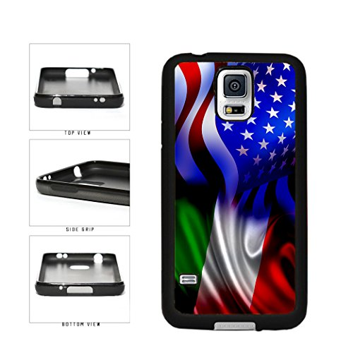 Italy and USA Mixed Flag TPU RUBBER SILICONE Phone Case Back Cover Samsung Galaxy S5 I9600 includes BleuReign(TM) Cloth and Warranty Label
