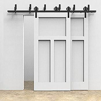 Amazon Com Winsoon 5ft 16ft Sliding Bypass Cabinet Door Hardware Double Rail Strong Bearing Kit Black Big Wheel 8ft Home Improvement