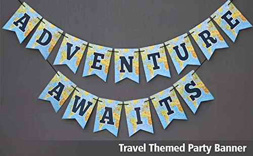 World Map Party Supplies.Adventure Awaits Travel Themed Party Bon Voyage Banner Map