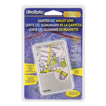 UltraOptix Lighted LED Wallet Lens magnifier Lighted Wallet Magnifier