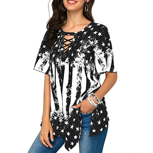 Londony Women's Summer Lace Up Star and Stripe Print Short Sleeve Tops Asymmetrical Hem Casual Blouse (Black❤️, S) (Suede Doll Musical)