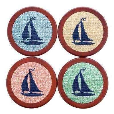 Heathered Sailboat Needlepoint Coasters by Smathers & Branson