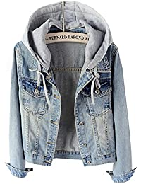 Women's Casual Detachable Hoodie Denim Jacket