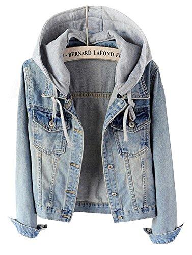 - LifeShe Women's Casual Detachable Hoodie Denim Jacket (Light Blue, L)
