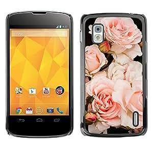 Caucho caso de Shell duro de la cubierta de accesorios de protección BY RAYDREAMMM - LG Google Nexus 4 E960 - Light Roses Composition Tree