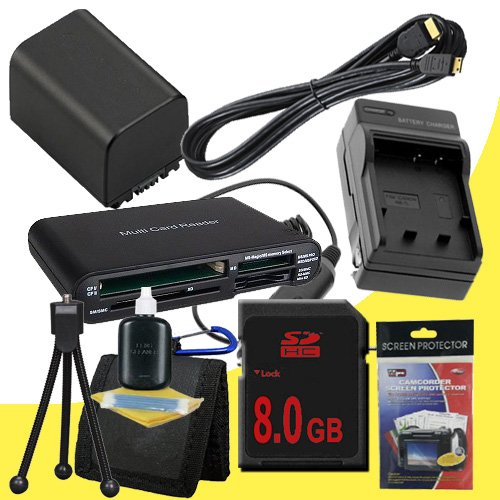 NP-FV100 Lithium Ion Replacement Battery w/Charger + 8GB SDHC Memory Card + Mini HDMI + Memory Card Reader/Wallet + Deluxe Starter Kit for Sony NEXVG10, NEXVG20 Interchangeable Lens HD Handycam Camcorder DavisMAX Accessory Bundle