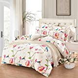 Floral Duvet Cover Set Twin, 100% Soft Cotton Bedding, Birds and Flowers Botanical Pattern Printed, with Zipper Closure (3pcs, Twin Size)