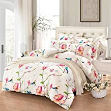 Floral Duvet Cover Set King, 100% Soft Cotton Bedding, Birds and Flowers Botanical Pattern Printed, with Zipper Closure (3pcs, King Size)