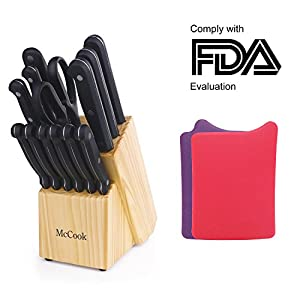McCook MC28B 16 Pieces FDA Certified Knife Block Set with All-purpose Kitchen Scissors, Sharpening Steel, Plastic Kitchen Cutting Mats Set and Pine Wood Block(Black)