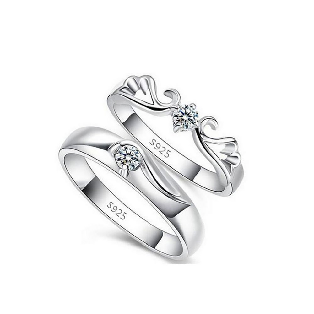 Tidoo Jewelry His Her Engagement Wedding Band Couple Anniversary Promise Rings Sterling Silver Angel Wing Ring