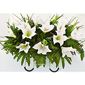 Cemetery Spring Flowers ~Spring white lilly mix~headstone saddle arrangement~cemetery flower service~grave site decor~sympathy flowers~flowers for graves~Lillies and wildflowers 14