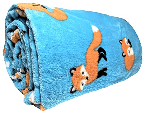 JustHome Fun Print Soft Cozy Lightweight 50 x 60 Fleece Throw Blanket (Turquoise with Orange Foxes) (Fox Blankets)