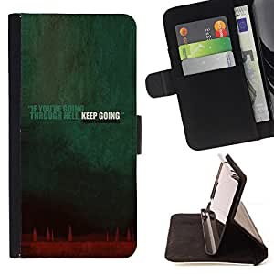 BullDog Case - FOR/HTC DESIRE 816 / - / going though hell keep going quote inspiration /- Monedero de cuero de la PU Llevar cubierta de la caja con el ID Credit Card Slots Flip funda de cuer