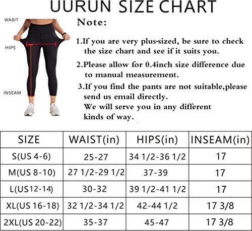 UURUN High Waist Yoga Pants Capri Workout Running Leggings with Pockets - Non-See-Through Fabric 6