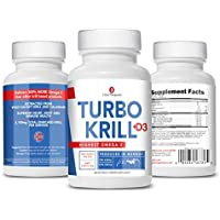 3Care Turbo Krill 2100mg [High Concentrate] Krill Oil Plus 1000 IU Vitamin D Omega 3 Supplement 60 Count Softgels