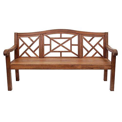 Achla Designs OFB-19N Carlton Bench Eucalyptus Garden Bench, Natural, 6 foot