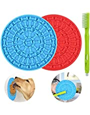 Lick Mat for Dogs 2 Packs - OAPRIRE Dog Lick Mat with Super Suction, Reduce Daily Anxiety, Slow Feeder Lick Mat Suctions to Wall for Pet Bathing, Grooming and Training - with Cleaning Brush