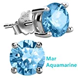 Feramox Sterling Silver Round Cubic Zirconia Diamond Birthstone Stud Earrings for Women March
