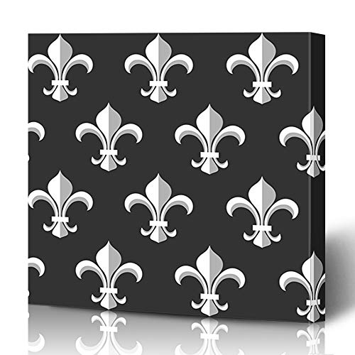 Ahawoso Canvas Prints Wall Art 12x16 Inches LYS Baroque Fleurdelis Monochrome Pattern On Antique Style Vintage Black Classic Elegance Fleur Design Decor for Living Room Office Bedroom