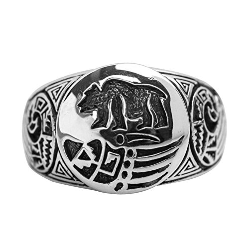 Bishilin Silver Plated Ring for Men with Engraving Bear Round Friendship Rings Silver Size 12.5 by Bishilin