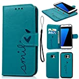 Geniric S7 Edge Case Leather, S7 Edge Cover Wallet Embossed Smile Love Design PU Leather Flip Case Detachable TPU with Card Strap Case for Samsung Galaxy S7 Edge - Blue