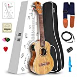 Vangoa - UK-26ZE Tenor 26'' inches Zebrawood Acoustic Electric Ukulele 3 Band EQ with Nylon Strap, Pick, Pick Container, Carry Bag, Tuner, KAZOO, Backup Strings, Finger shaker