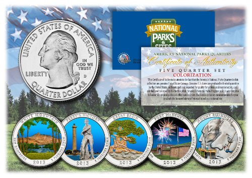 2013 America The Beautiful COLORIZED Quarters U.S. Parks 5-Coin Set w/Capsules by Merrick Mint