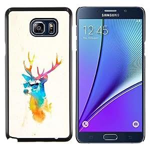 Qstar Arte & diseño plástico duro Fundas Cover Cubre Hard Case Cover para Samsung Galaxy Note 5 5th N9200 (Gafas de sol del inconformista de los ciervos)