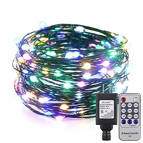 ER CHEN 33ft Led String Lights,100 Led Starry Lights on 10M Green Copper Wire String Lights Power Adapter + Remote Control(Multicolor)