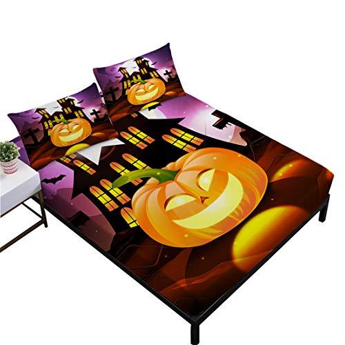 Oliven Halloween Sheets Queen Size,3D Pumpkin Light Haunted House Printed Fitted Sheet Set Kids Bedding Set -