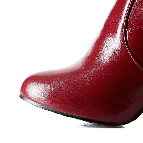 Claret PU Solid Boots High up High Heels Lace Women's top AmoonyFashion 6qnxv5Zwx