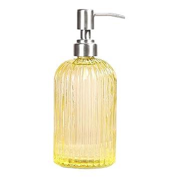 IDABAY Botella Dispensador de Vidrio para jabón Liquido/Champú/Loción/Crema Corporal/Aceites de Masaje/Crema de Ducha 500ml Uso para hogar, Restaurante y ...