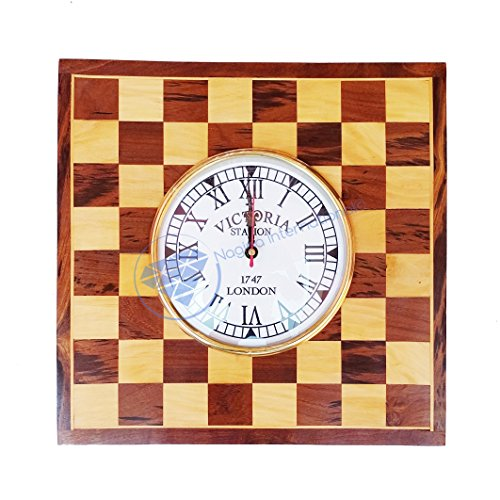 Nagina International Wooden Nautical Chess Styled Square Wall Clock - Home Decor Hanging