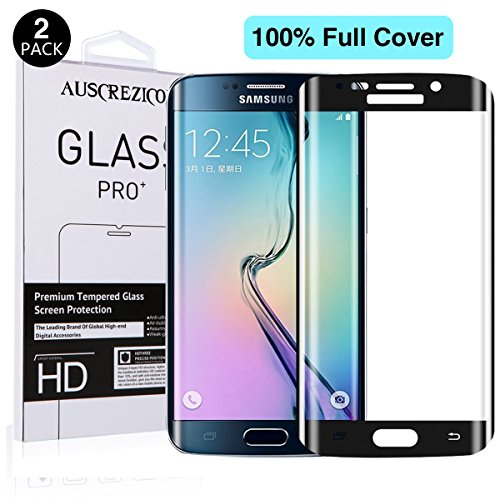 [Full Cover] Samsung Galaxy S6 edge screen protector , AUSCREZICON (2-PACK) 0.26mm 9H Tempered Glass ,High Definition 3D Curved, Full 100% Coverage for Samsung Galaxy S6 edge black