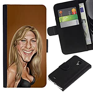 A-type (Sarah Anniston Brown Caricature Movie) Colorida Impresión Funda Cuero Monedero Caja Bolsa Cubierta Caja Piel Card Slots Para Samsung Galaxy S4 Mini i9190 (NOT S4)